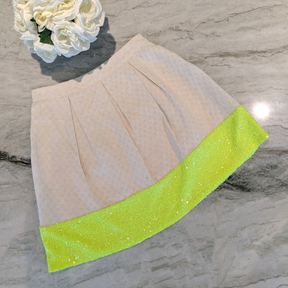 Dresses & Skirts - A Line Skater Neon Sequence and Khaki Skirt